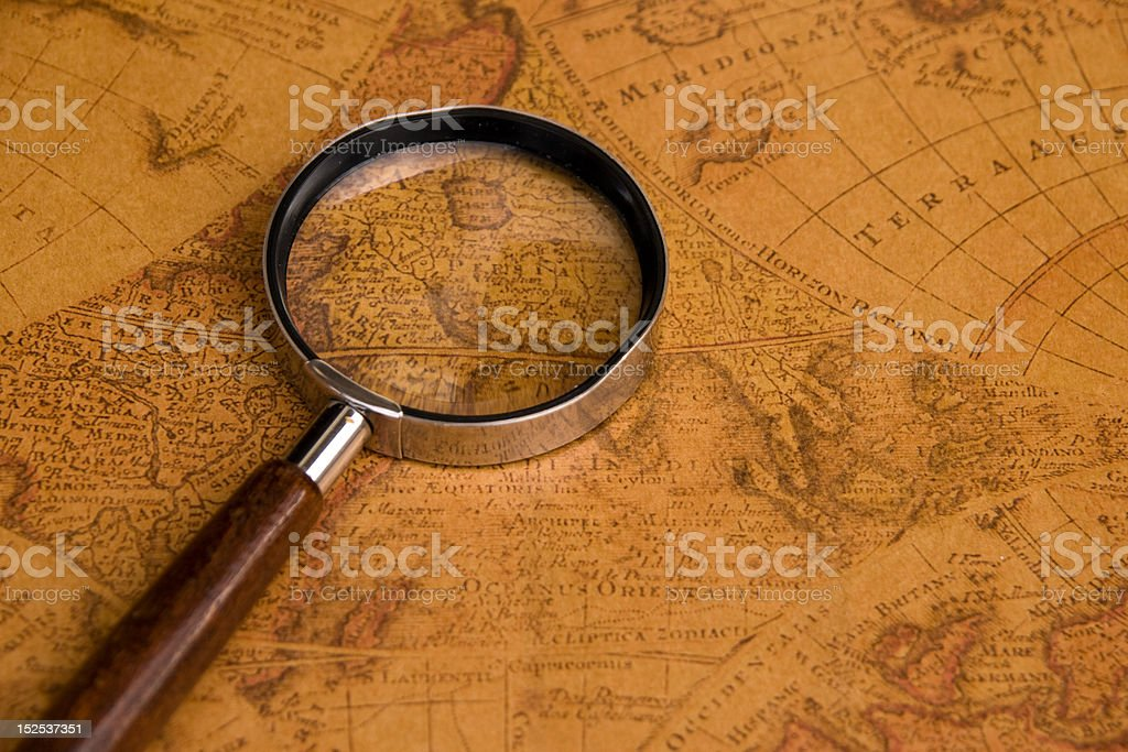 lens on old map