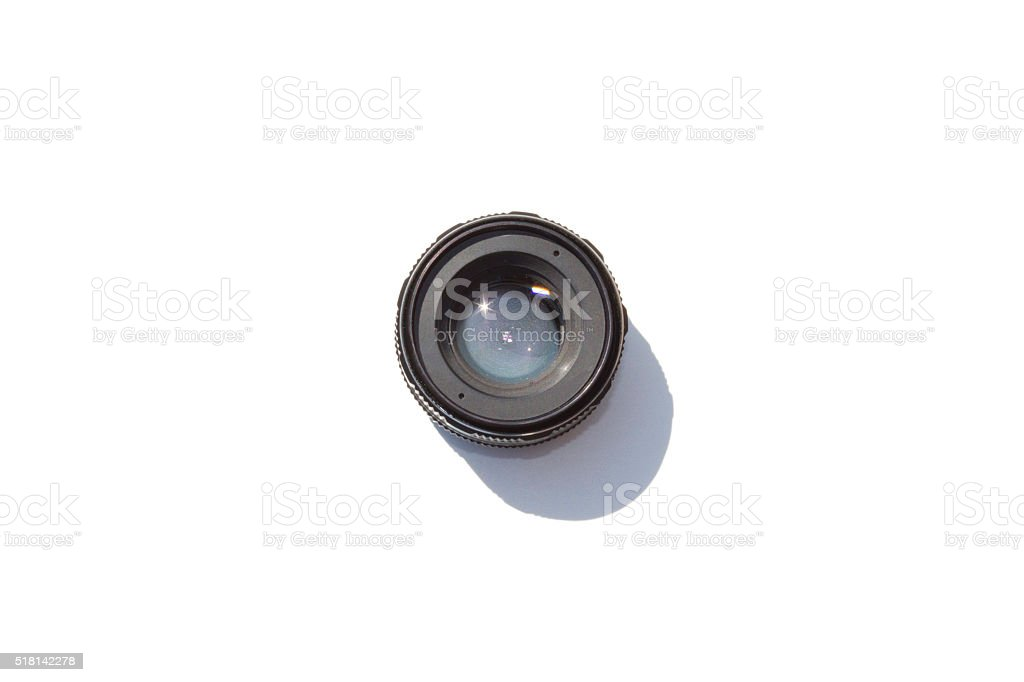 Lens on White Background stock photo