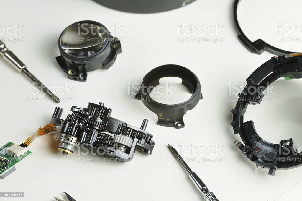 Lens parts and tools royalty-free stock photo