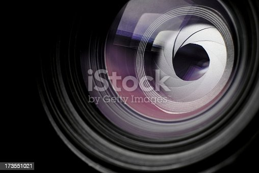 SLR lens with visible diaphragm