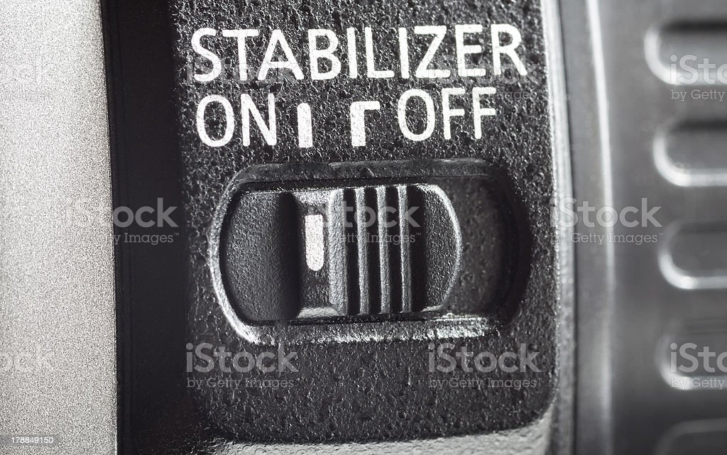 Lens stabilization switch. royalty-free stock photo