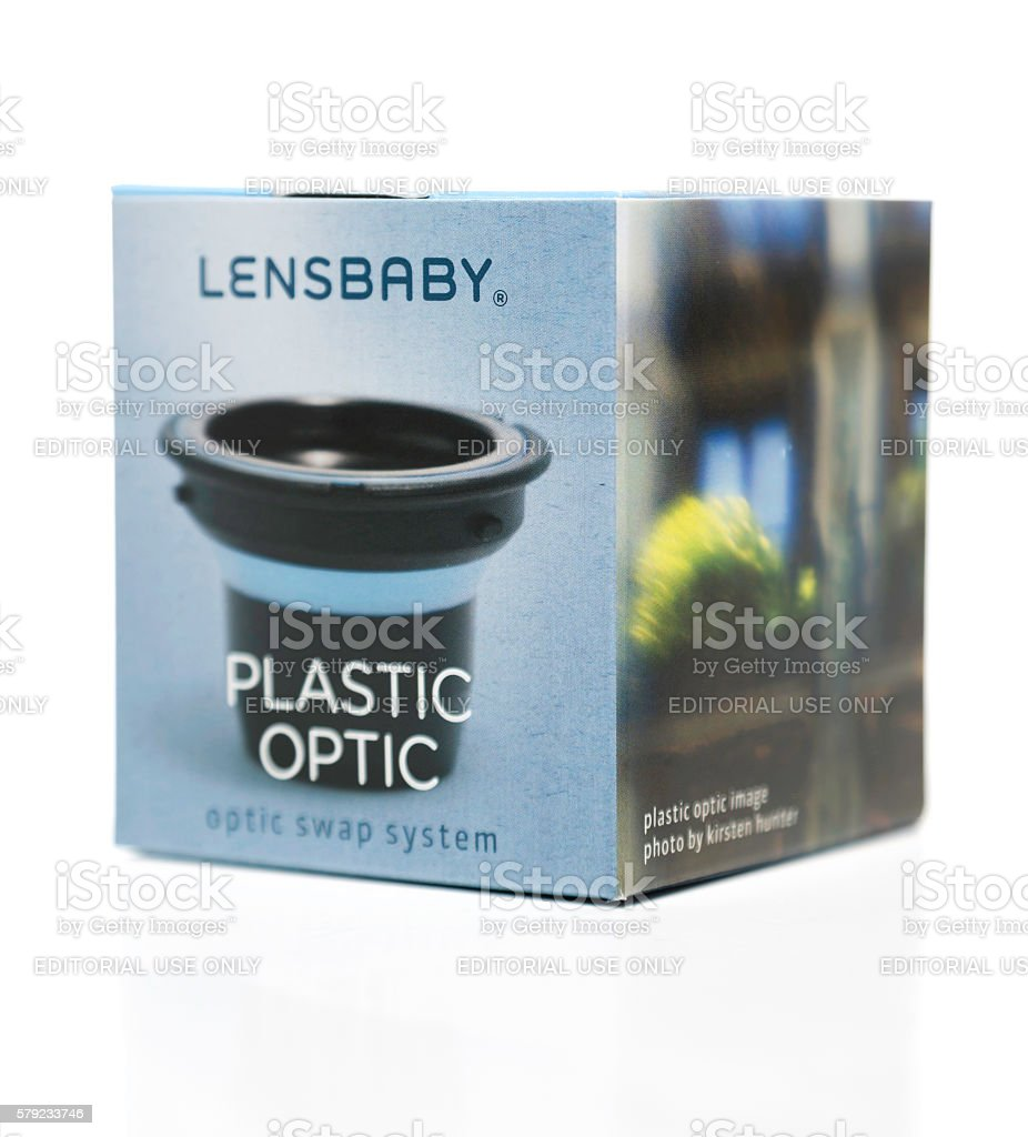 Lensbaby plastic optic box stock photo