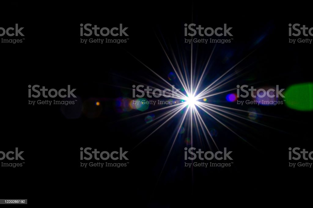 Lense Flare Sunlight Ray Sun Shine Flash Effect Or Star Spot Glow Light On Black Background Gleams Rounded And Hexagonal Shapes Rainbow Halo Stock Photo Download Image Now Istock