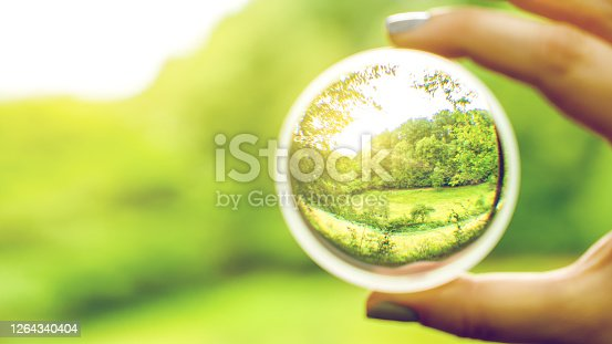 Clear view through contact lense on nature