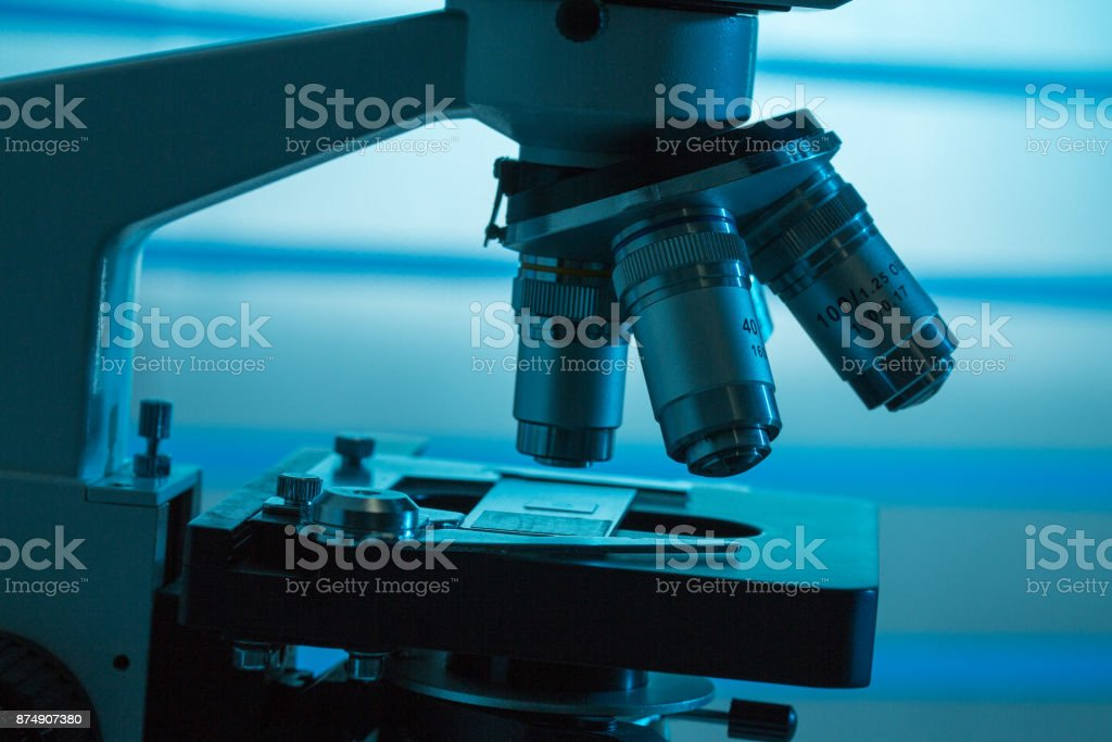 Lenses and microscope eyepieces for scientific research stock photo