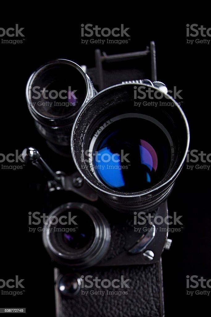 Lenses of Vintage 8mm Movie Camera stock photo