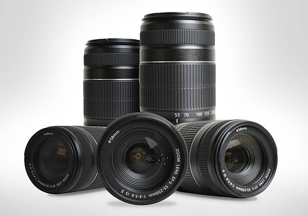 lenses - telelens stockfoto's en -beelden