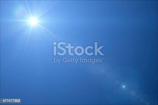 Lensflare of the sun in the sky