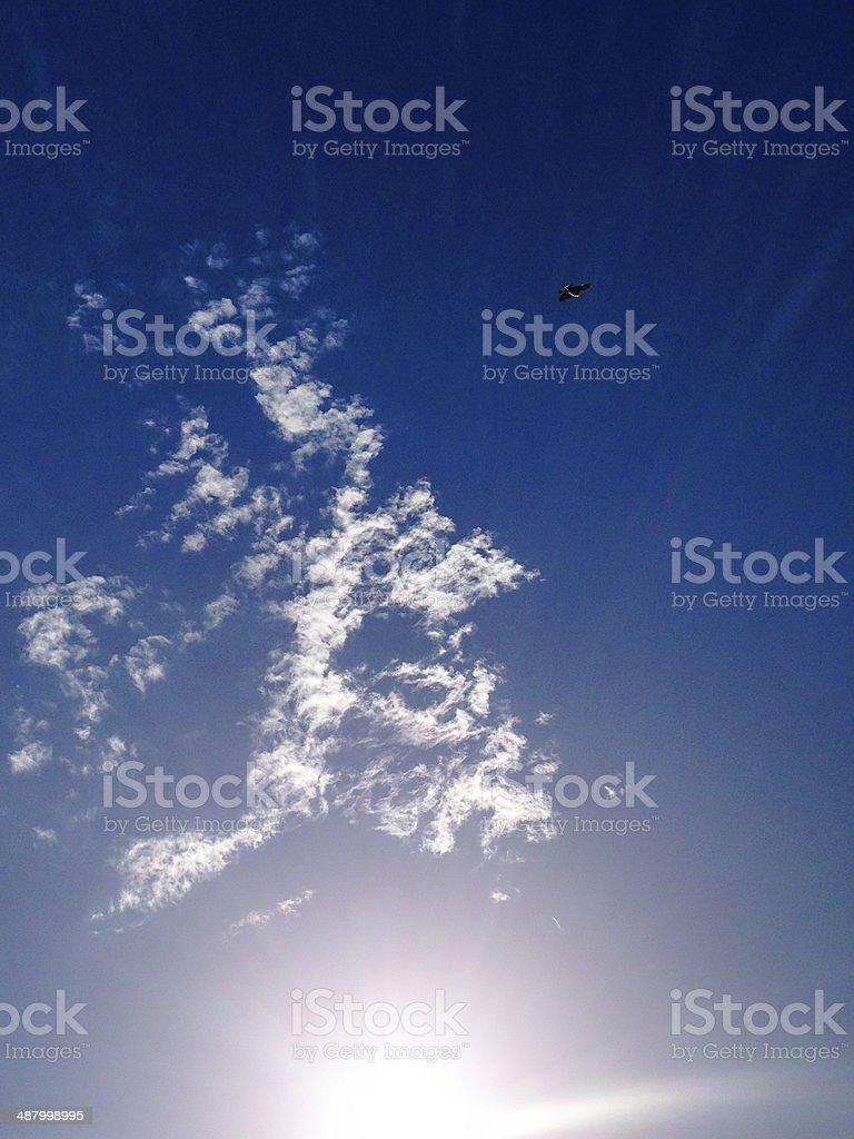 lensflare sunbeam on blue sky royalty-free stock photo
