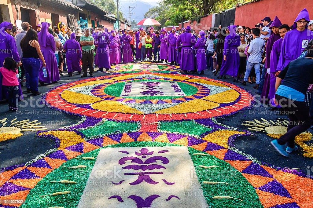 Prestado alfombra &  Cucuruchos, Antigua, Guatemala - foto de stock