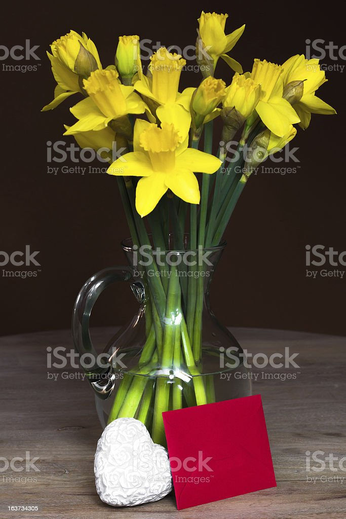 Lent lily daffodil in a glass vase stock photo