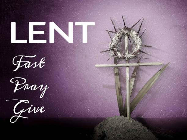 Lent Season,Holy Week and Good Friday concepts Words Lent fast pray give with crown of thorns,cross,palm leaves and ash Stock photo lent stock pictures, royalty-free photos & images