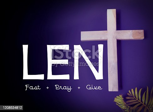 Text 'lent fast pray give' Stock photo