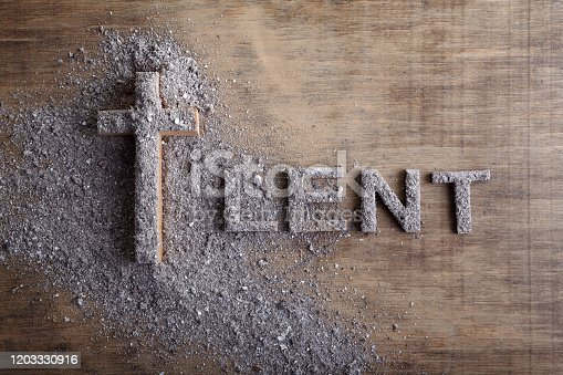 Lent word written in ash, dust as fast and abstinence period concept.