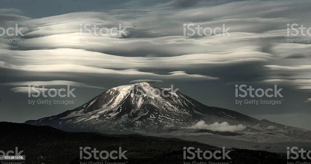 Lenticular Clouds Over Mt Adams stock photo