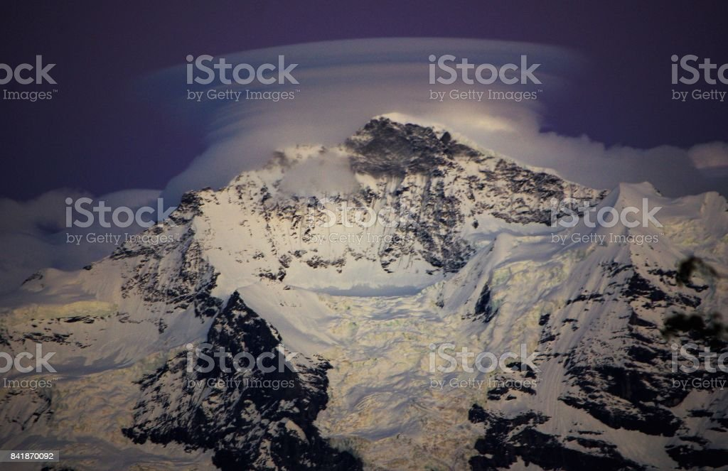 Lenticular Cloudscapes over the Eiger, Monch & Jungfrau - Bernese Oberland, Switzerland stock photo
