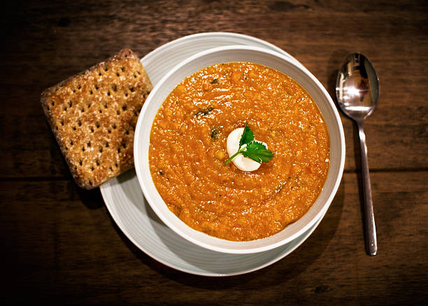 Lentil and Chilli soup stock photo