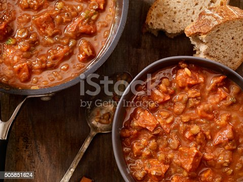 Lentil and Sausage Soup with Tomatoes-Photographed on Hasselblad H3D2-39mb Camera