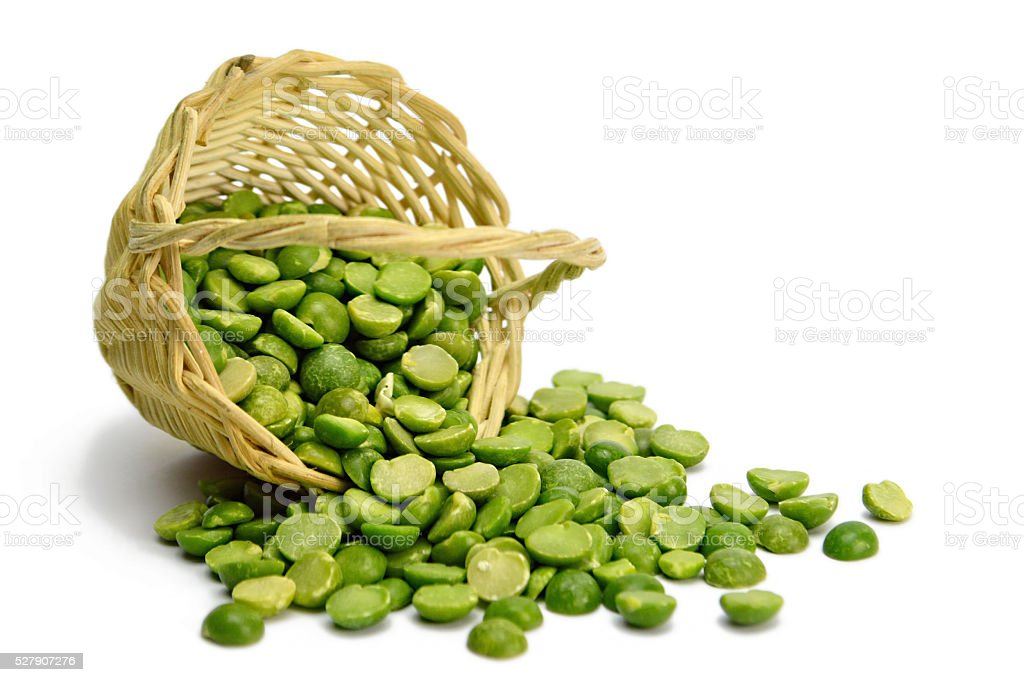 Lentil beans in the basket isolated on white stock photo