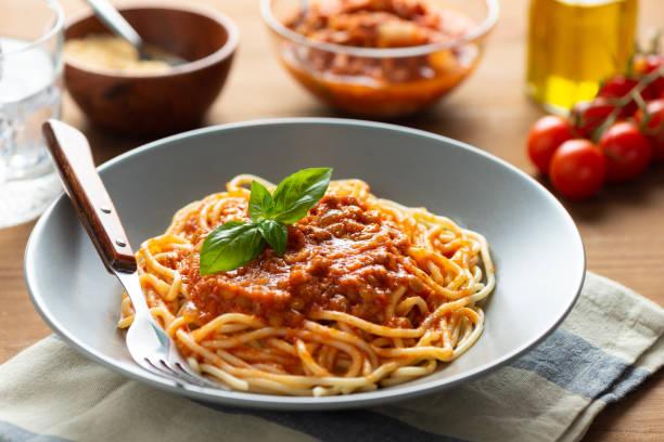 Lentil bolognese pasta. Vegan food stock photo