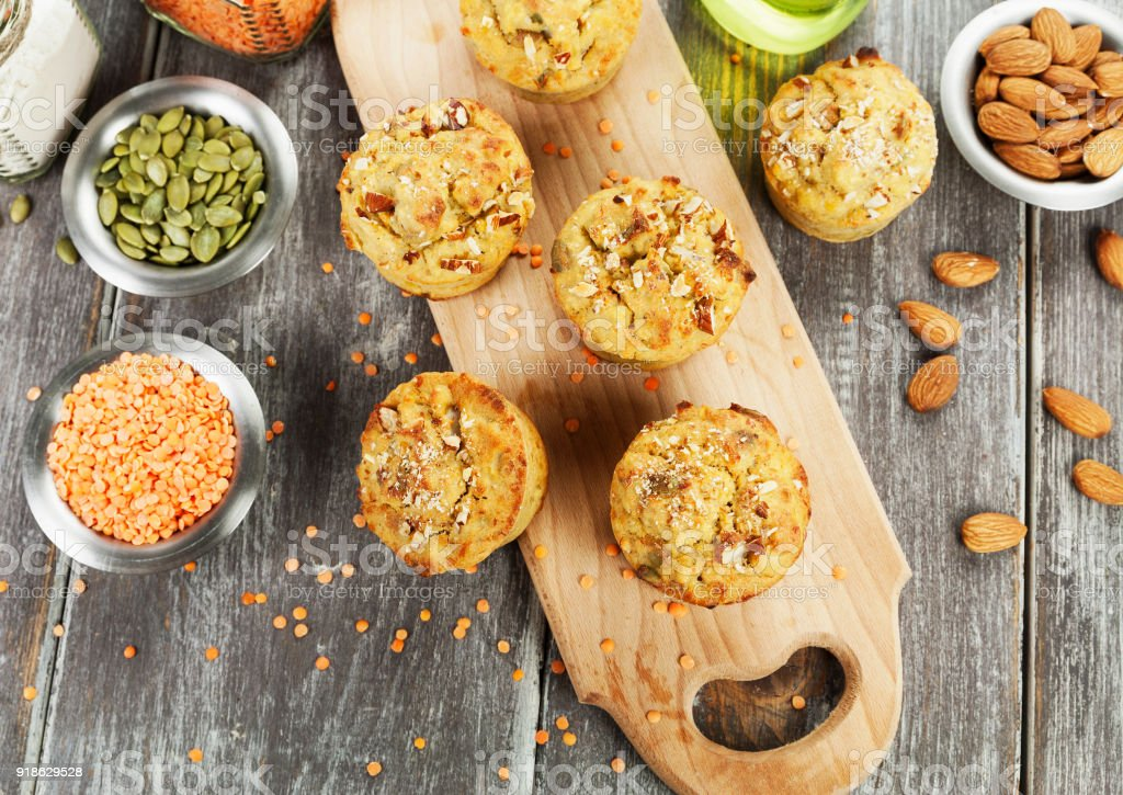 Lentil muffins on the table stock photo
