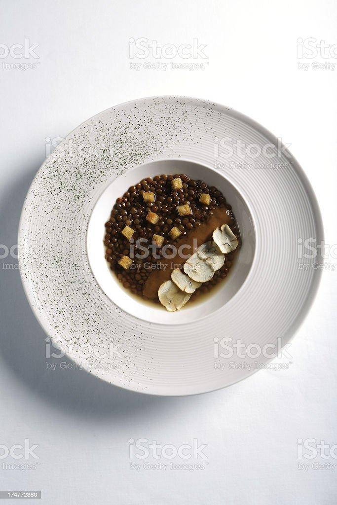 Lentil soup with truffles stok fotoğrafı