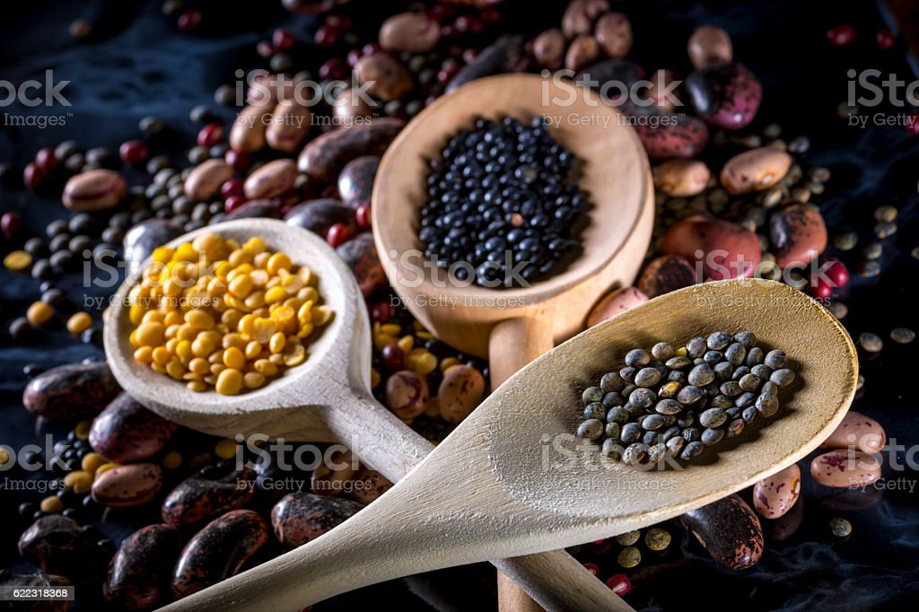 lentils and beans stock photo