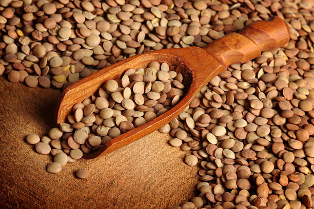 Lentils and Scoop stock photo