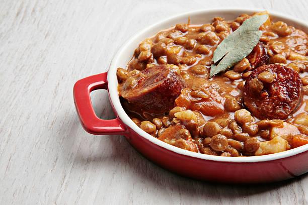 lentils and spanish chorizo stew tapas stock photo