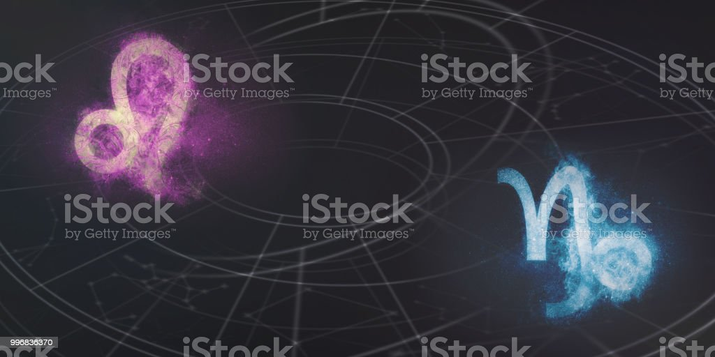 Leo and Capricorn horoscope signs compatibility. Night sky Abstract background. stock photo