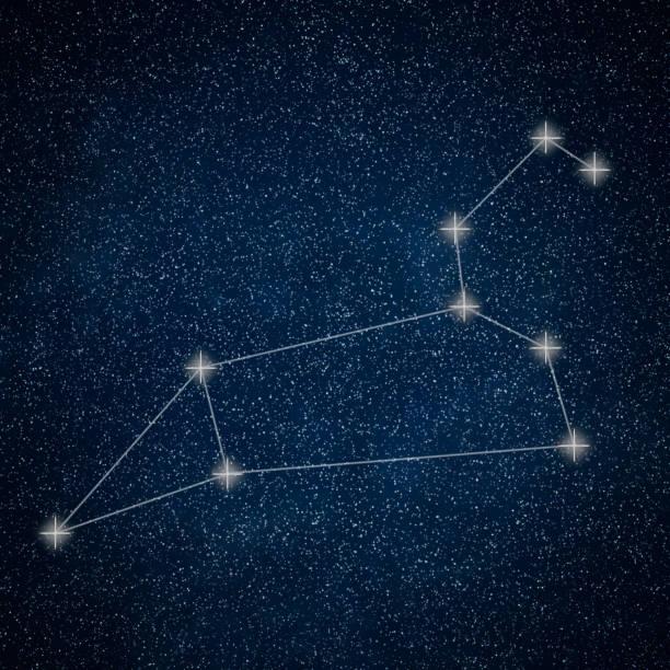 Aslan takımyıldızı. Zodyak işareti Aslan takımyıldızı satırları Galaxy arka plan stok fotoğrafı