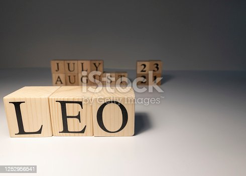 810006098 istock photo Leo word on wooden cubes on white background. 1252956541