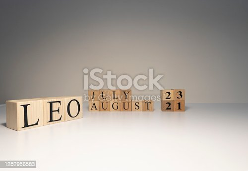 810006098 istock photo Leo word on wooden cubes on white background. 1252956583