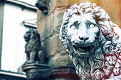 Leon statua on Signoria Square in Florence, Italy.