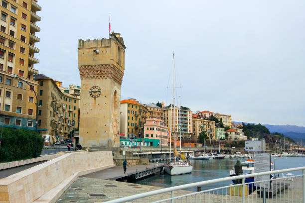 Leon Pancaldo tower in the harbor of Savona, Liguria, Italy stock photo