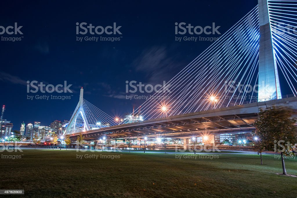 Leonard P Zakim Bridge stock photo