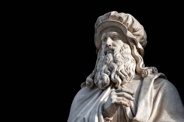 leonardo da vinci statue auf schwarzem hintergrund (pfadauswahl enthalten) - erfinder der fotografie stock-fotos und bilder