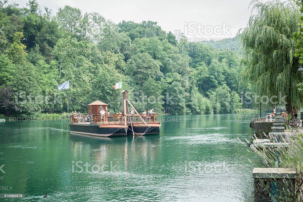 Leonardo's Ferryboat On Adda River, Italy stock photo