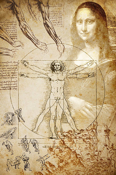 Leonardo's sketches and drawings: Composition stock photo
