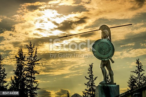 istock Leonidas statue, under a dramatic  cloudscape at sunset,Thermopylae, Greece 824144338