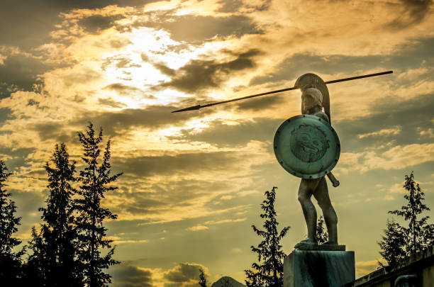 Leonidas statue, under a dramatic  cloudscape at sunset,Thermopylae, Greece stock photo