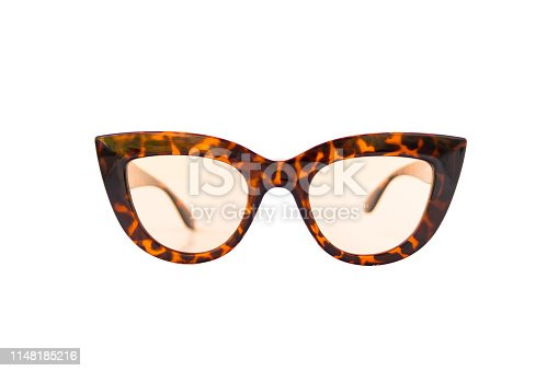 Cat eye shaped transparent sunglasses with leopard pattern thick frame at isolated white background, front view