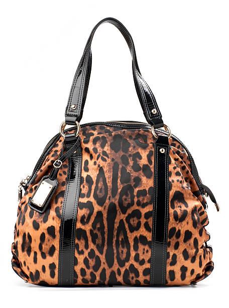 Leopard-Imprimir bolsa de cuero blanca - foto de stock