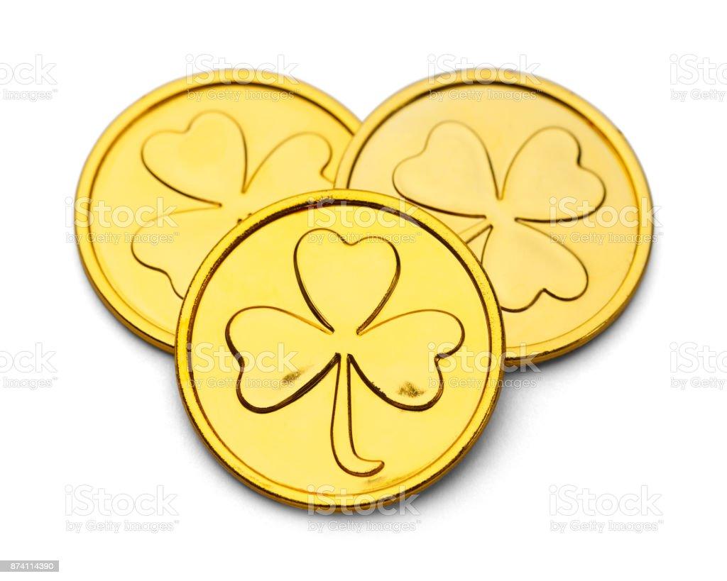 Leprechaun Clover Coins stock photo