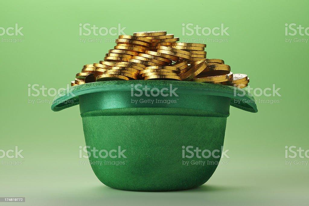 Leprechaun Hat and Coins stock photo