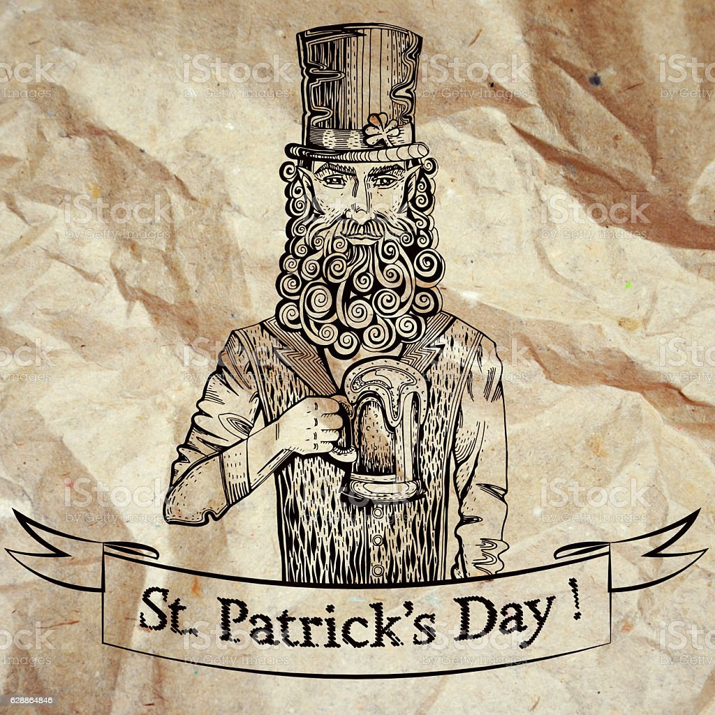 Leprechaun with beer, vintage tape, crumpled paper – zdjęcie