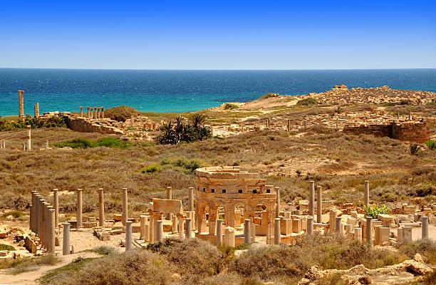 Leptis Magna, Market Place, Libya stock photo