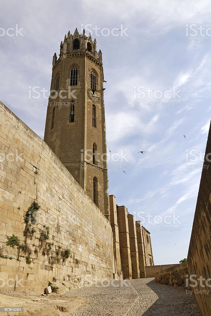Lerida (Catalonia, Spain) - Gothic cathedral and walls royalty-free stock photo