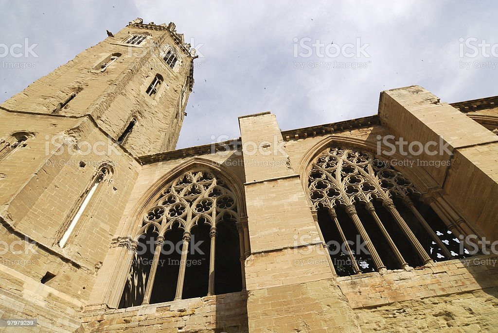 Lerida (Catalonia, Spain) - Gothic cathedral from below royalty-free stock photo