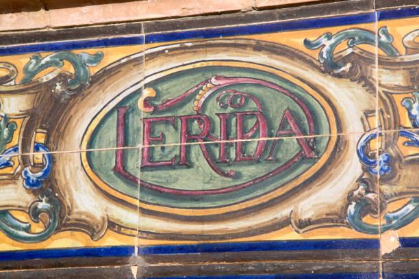 lerida sign; plaza de espana square; seville - lleida стоковые фото и изображения